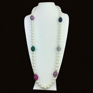 Joan Boyce Simulated Pearl & Pave Station Necklace